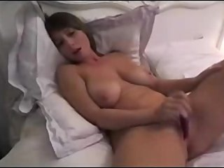 Hottie With Giant Natural Boobs Dildoing