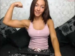 Hot webcam girl flexing biceps