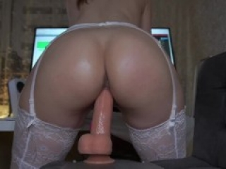 DEEP CHEEK CLENCHING DILDO RIDE - balls deep asshole fingering wet