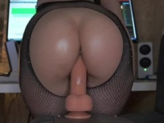DEEP CHEEK CLENCHING DILDO RIDE - balls deep asshole fingering white grool