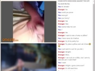 girl on omegle shows pussy and tits, sucks a dildo
