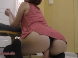 redhead whore rides her favorite dildo